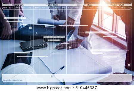 Project management schedule for business planning. Modern graphic interface showing timeline of each task deadline breakdown in plan to monitor by project manager who manage the overall schedule. stock photo