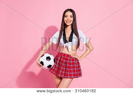 Photo of cheer funny lady cheerleader head school committee soccer ball wear red short skirt white top isolated pink background stock photo