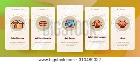 Pet Line Icon Set Vector Onboarding Mobile App Page Screen. Animal Care. Grooming Pet Symbol. Dog, C