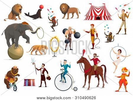Circus performers and carnival top tent artists vector design. Cartoon clown, acrobat and strongman, trained elephant animal, lion and horse, juggler, magician and trapeze girl, juggling monkey, tamer stock photo