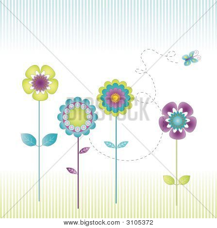 Retro Floral Background-Lg Fridge Magnet Skin (size 36x65)