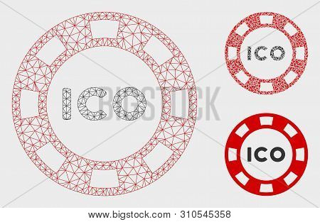 Mesh ICO token model with triangle mosaic icon. Wire carcass triangular mesh of ICO token. Vector mosaic of triangle parts in variable sizes, and color tints. Abstract 2d mesh ICO token, stock photo