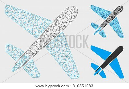 Mesh jet airplane model with triangle mosaic icon. Wire frame polygonal mesh of jet airplane. Vector mosaic of triangle parts in variable sizes, and color tones. Abstract flat mesh jet airplane, stock photo