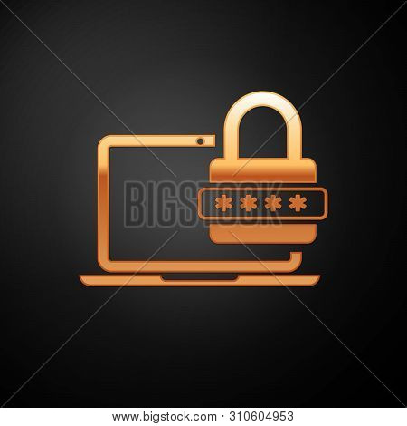 Gold Laptop with password notification and lock icon isolated on black background. Concept of security, personal access, user authorization, login form. Vector Illustration stock photo