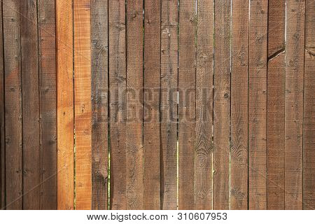 A wood privacy fence that has been recently stained with two newer slats standing out as much ligher shades of reddish brown than the older slats around them. stock photo