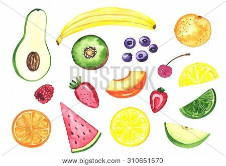 Watercolor illustration of sweet fruits. Hand drawn illustration. Banana, apple, avocado, peach, lemon, raspberry and other fruits and berries stock photo