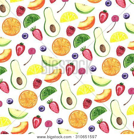 Watercolor illustration of sweet fruits. Hand drawn illustration. Seamless pattern. Banana, apple, avocado, peach, lemon, raspberry and other fruits and berries stock photo