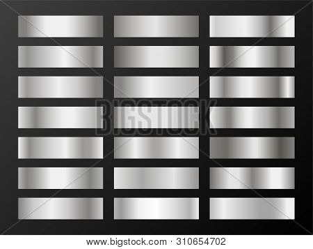 Silver platinum gradients. Metallic foil texture silver, steel, chrome gradient swatches. Shiny metallic platinum gradients collection for background, cover, frame, banner, coin, label, flyer, card. stock photo