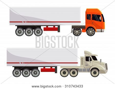 Semi trailer truck vector vehicle transport delivery cargo shipping illustration transporting set of trucking freight lorry semi-truck transportation isolated on white background stock photo