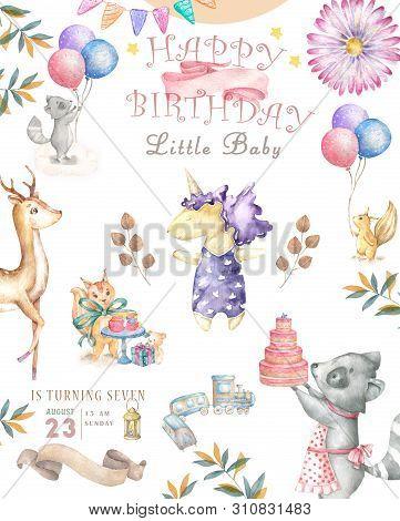 Watercolor isolated cute watercolor unicorn and sqirrel clipart. Nursery unicorns illustration. Princess unicorns poster. Trendy pink cartoon horse. Birthday invite. stock photo