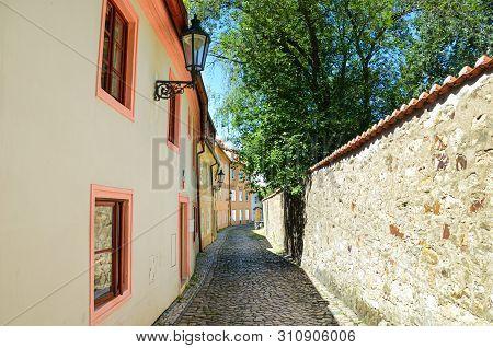 Beautiful narrow streets in Novy Svet, Prague, Czech Republic. Cobbled streets. Amazing historical city. Czech capital. Czechia, Europe. Popular tourist destination. Cities to explore. stock photo