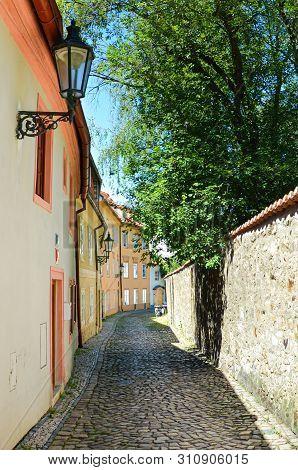 Amazing cobbled narrow streets in Novy Svet, Prague, Czech Republic. Czech capital is beautiful historical city with many tourist attractions. Travel destination. European cities. Czechia, Europe. stock photo