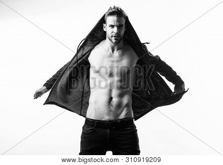 Cool and sexy. Fitness diet. Desire and temptation. Sexy muscular macho. Six pack of sexy man with bare torso. Male fashion and beauty. Athlete man, hair care. Muscular trainer after sport workout stock photo