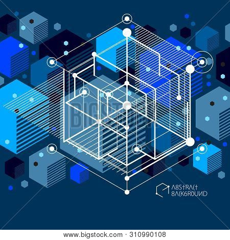 Lines And Shapes Abstract Vector Isometric 3d Blue Black Background. Abstract Scheme Of Engine Or En