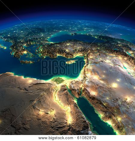 Night earth. africa and middle east