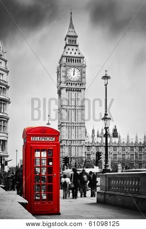 Red telephone booth and Big Ben in London, England, the UK. People walking in rush. The symbols of L-Lg Fridge Magnet Skin (size 36x65)