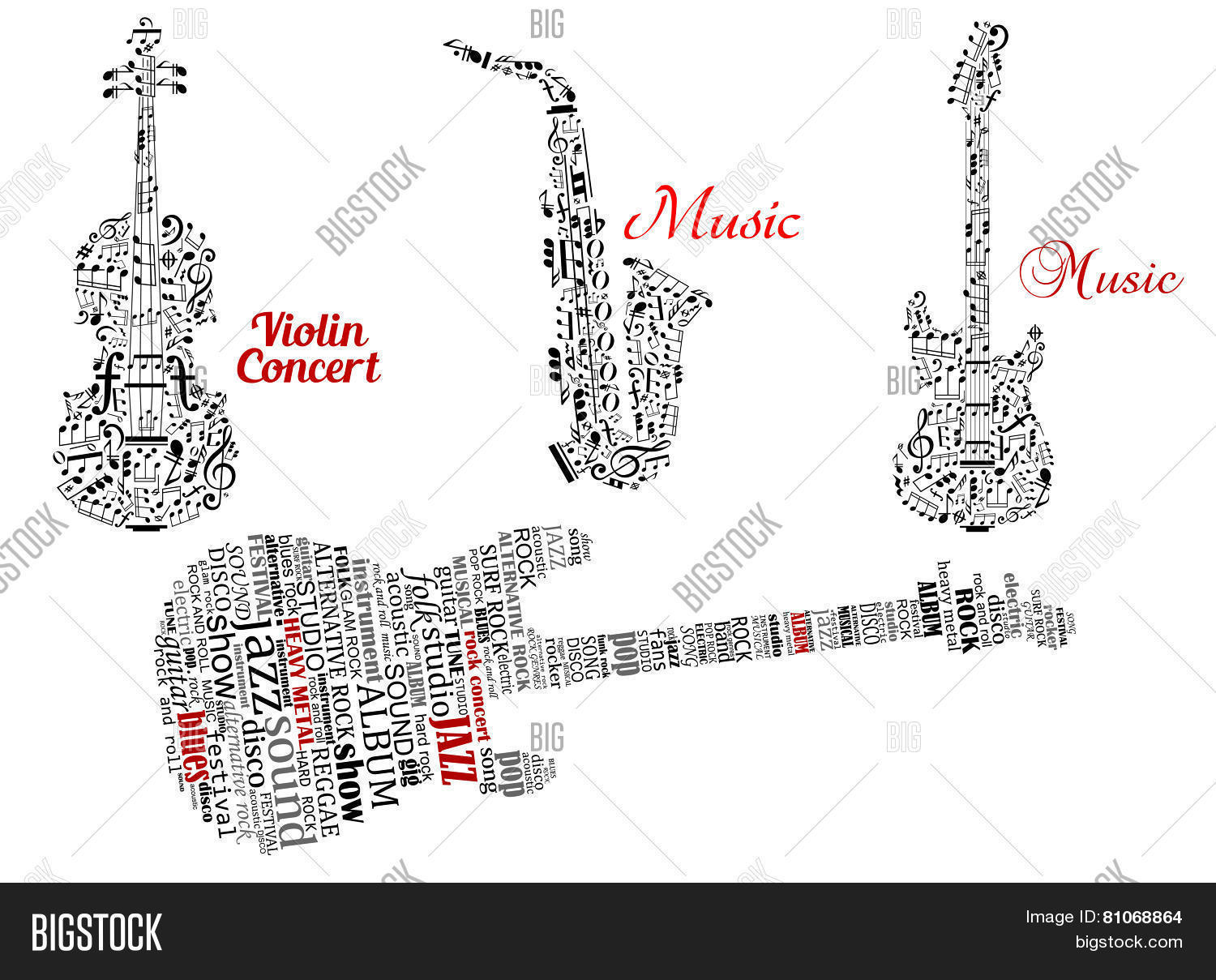 Word Clouds And Notes In Shape Of Guitars Violin And Saxophone