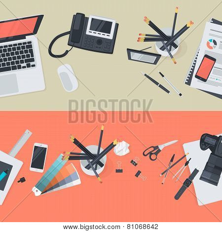 Set of flat design illustration concepts for creative workspace and business workspace
