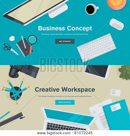 Set of flat design illustration concepts for business and creative workspace