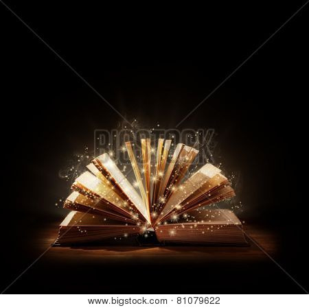 The magic of reading, storytelling and education or bible and religion, Black background space above