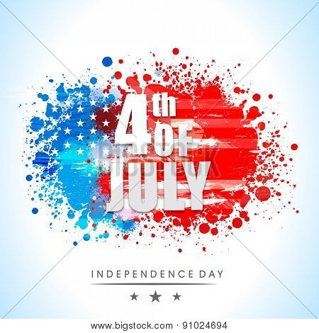 Shiny text 4th of July on national flag colors splash background for American Independence Day celeb