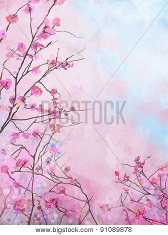 Painting Pink Japanese Cherry - Sakura Floral Spring Blossom Background-Lg Fridge Magnet Skin (size 36x65)