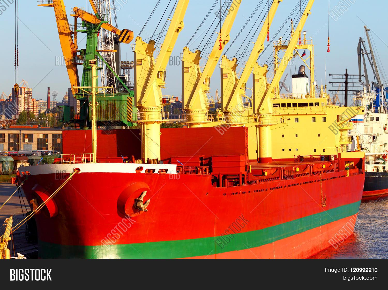 Sea cargo transportation.The ship in port.