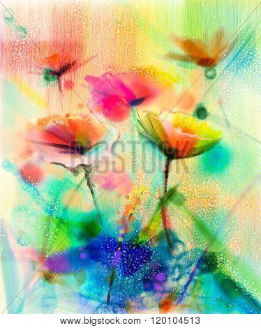 Abstract Flower Watercolor Painting-Dishwasher Magnet Skin (size 24x24)