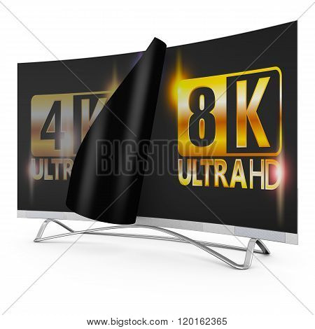 modern TV with 4k and 8K Ultra HD inscription on the screen stock photo