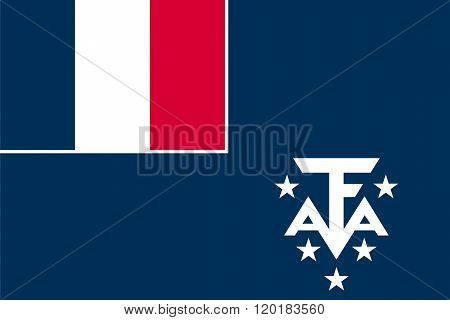 Standard Proportions and Color for French Southern and Antarctic Lands Unofficial Flag stock photo