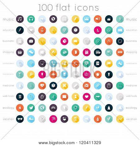 Set Of 100 Flat Icons ( Music Icons, Education Icons, Business Icons, Shopping Icons, Communication