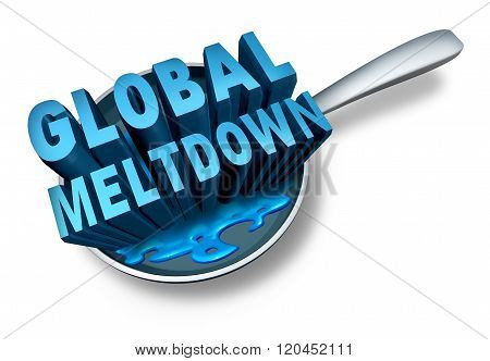 Global meltdown and financial crisis as a bankruptcy finance concept as an economy in trouble and business slump concept on a white background. stock photo
