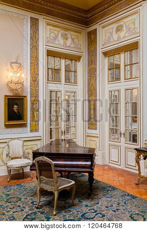 Queluz, Portugal. Lanternim Room (Sala do Lanternim) in the Queluz Palace, Portugal. Formerly used as the Summer residence by the Portuguese royal family. stock photo