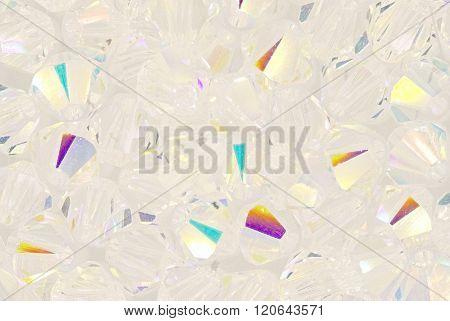 transparent Swarovski crystals beads extreme close up stock photo