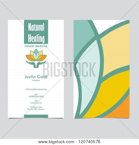 Hands Holding Lotus Business Sign and Business Card