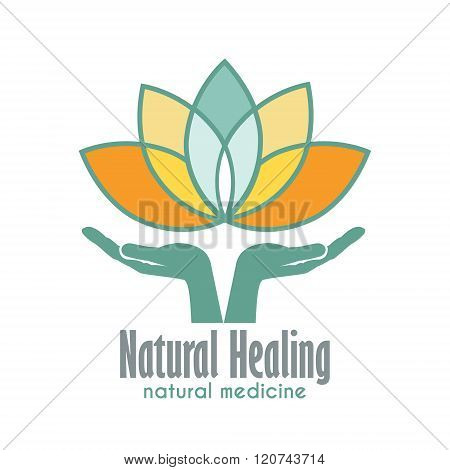 Hands Holding A Lotus Flower Vector Icon Business Sign Template For