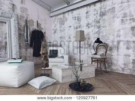 Cushions, lamps and sofa cushions on herringbone pattern wooden floor in room with unfinished white walls. 3d Rendering. stock photo