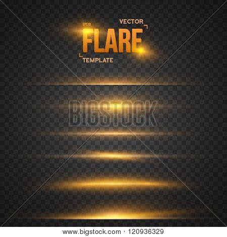 Illustration of Vector Flare Effect. Transparent Vector Overlay Lens Flare Ray Effect. Vector EPS10 Bright Sunflare Explosion Template stock photo
