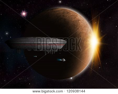 An alien space craft or UFO is near an alien planet as the sun starts to rise. stock photo