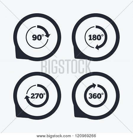 Angle 45-360 degrees circle icons. Geometry math signs symbols. Full complete rotation arrow. Flat icon pointers. stock photo