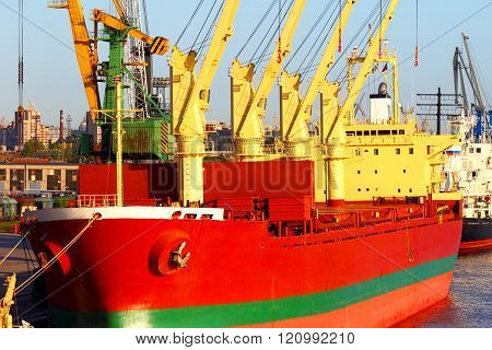 Transportation and distribution of trade and industrial freights by sea transport. stock photo