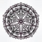 Vector all seeing eye mandala symbol.