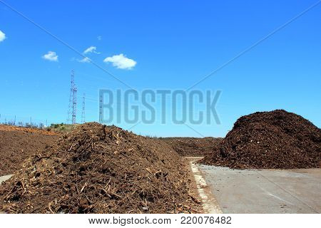 Rows of compost at a green recycle plant stock photo
