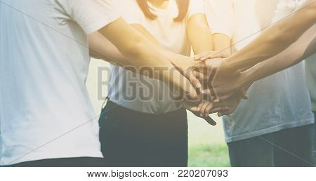 Team teamwork business join hand together concept, Power of male and female volunteer charity work, Stack of people hand
