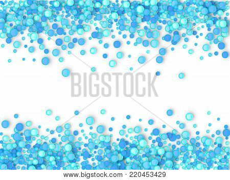 Blue carnaval confetti background made of dots. Snow Christmas pattern. 3d  illustration for celebrate, anniversary party and birthday design stock photo