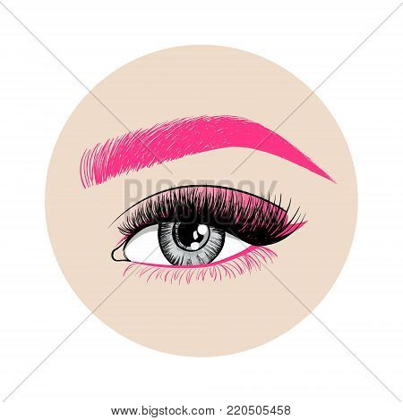 Beautiful Colorful woman eye with creative make-up. Pink eyebrow, long pink eyelashes and unusual makeup with pink shadows. Logo design for creative make-up artist. Vector illustration stock photo