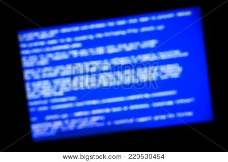 Fatal error - System crash screen out of focus stock photo