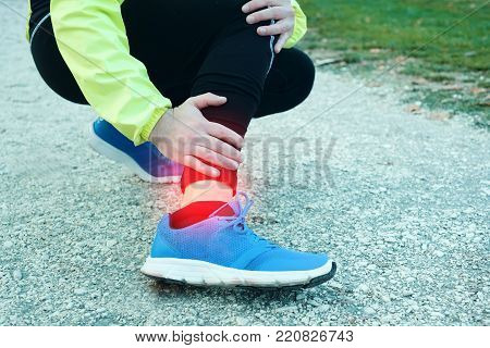 Injury running concept . Man feeling leg pain while training because overtraining stock photo