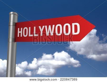 hollywood road sign concept  on sky background 3d illustration stock photo