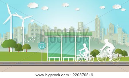 Paper folding art origami style vector illustration. Renewable energy ecology technology power saving environmentally friendly concepts. Family are riding bicycle through bus stop in green city parks. stock photo